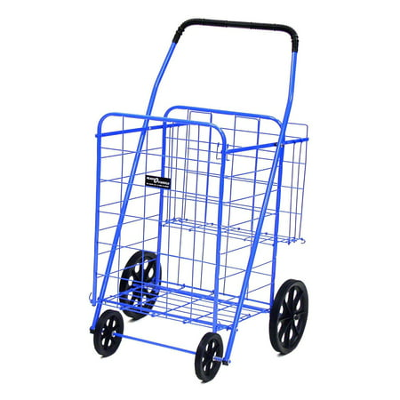 Easy Wheels Jumbo Shopping Cart Plus - Multiple Colors Get a multipurpose cart with the Easy Wheels Shopping Cart Plus. This exceptionally high quality jumbo shopping cart is ideal for hauling and storing up to 125 lbs of cargo. The Easy Wheels cart is made of heavy gauge steel for durability, coated with a highly durable blue epoxy finish and rolls on hardened plastic wheels that allow for heavy-duty use and carriage. Whether you're bringing your shopping home from a store several blocks away or carrying your laundry to and from the Laundromat, this Easy Wheels Shopping Cart Plus has the storage and resilience to fit your needs. An extra rear basket is available for storing personal items while the cart's main compartment is in use and the cart is easily collapsible for home storage. If you need a wheeled cart for shopping or other purposes, consider buying this Easy Wheels Shopping Cart Plus.