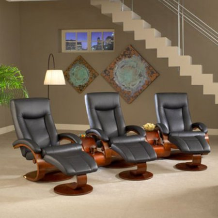 MAC Motion Oslo Collection Swivel Recliner with Ottoman and Theater Table - Set of 3 - Black
