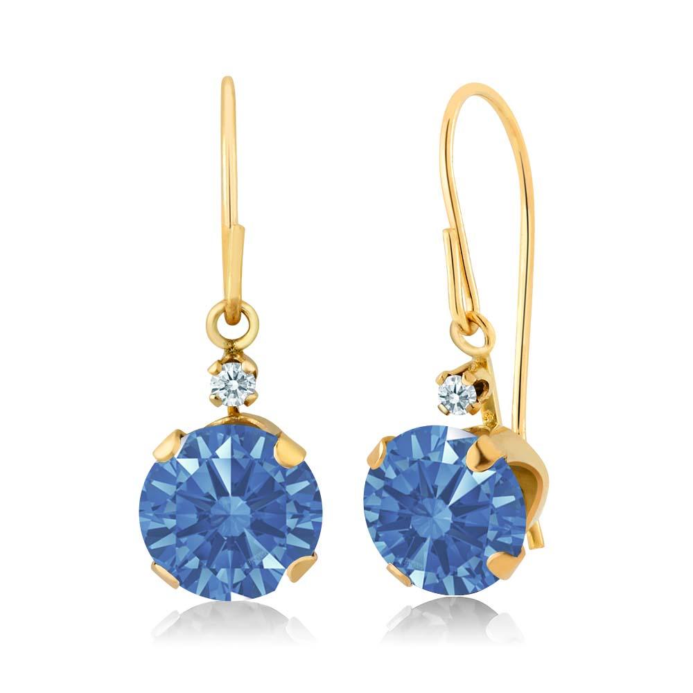 1.71 Ct Fancy Blue 14k Yellow Gold Earrings Made With Swarovski Zirconia