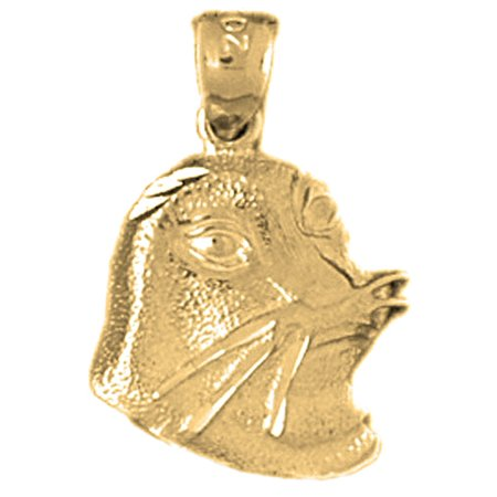 Yellow Gold-plated 925 Sterling Silver Seal Pendant - 32 mm (Approx. 1.36 grams) (Sterling Silver Wax Seal Pendant)