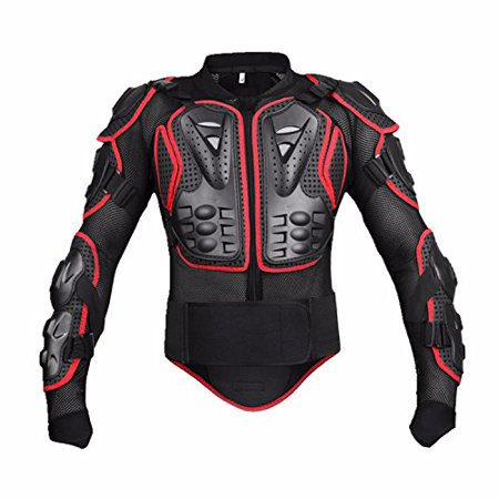 Motorcycle Full Body Armor Protective Jacket Guard ATV Motocross Gear Shirt For Honda Helix Gyro Express 50 250 - Large, Red