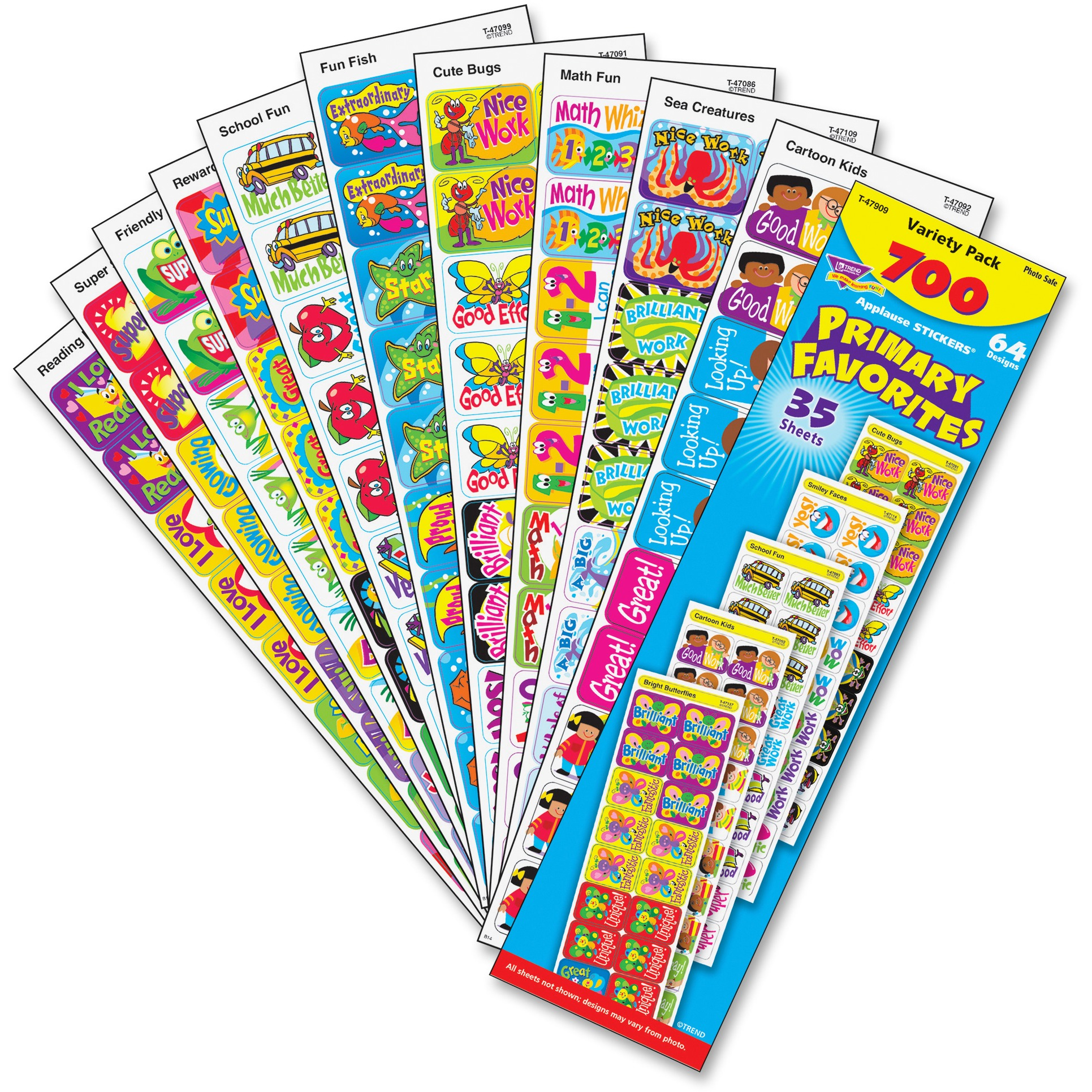 Trend, TEP47909, Primary Favorites Stickers, 700 / Pack, Multicolor