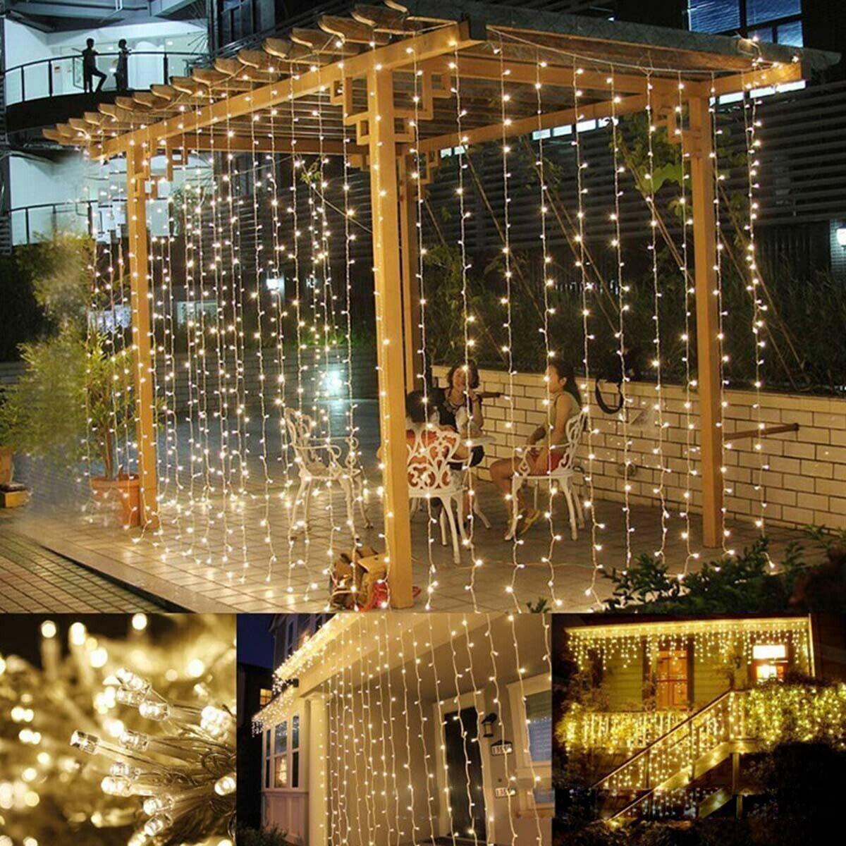 300 Led Curtain Lights Starry Christmas