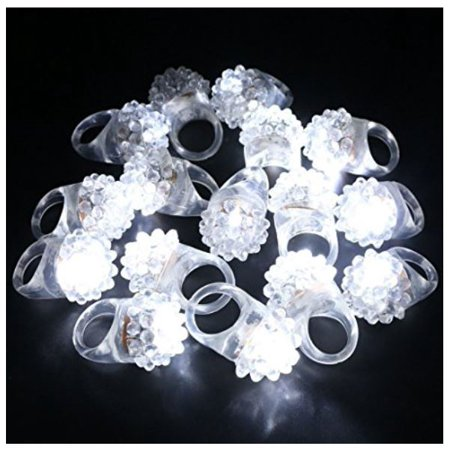 LWS LA Wholesale Store  100 White flashing LED Light Up bumpy Ring Frozen Party Favor Glow Blink jelly &  ** 10 Free miniature figures](Led Glow Rings)