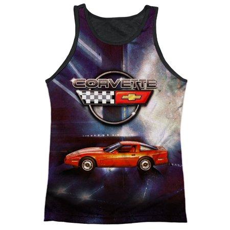 Chevy Corvette Fuel Tank (Chevrolet Autos Chevy Corvette In Lines Of Light Adult Black Back Tank Top Shirt )