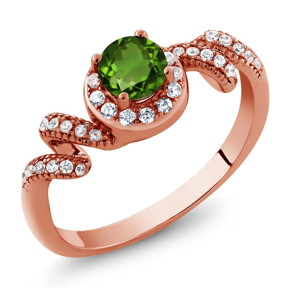 0.89 Ct Round Green Chrome Diopside 18K Rose Gold Plated Silver Ring