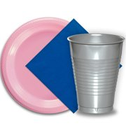 """50 Pink Plastic Plates (9""""), 50 Silver Plastic Cups (12 oz.), and 50 Dark Blue Paper Napkins, Dazzelling Colored Disposable Party Supplies Tableware Set for Fifty Guests."""