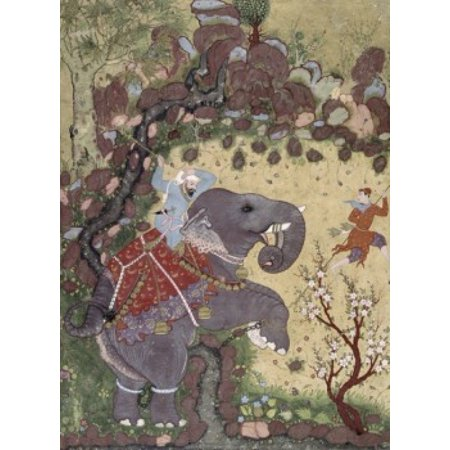 Indian Art And Artist (Subduing an Enraged Elephant  Artist Unknown (Indian) Canvas Art -  (18 x 24) )