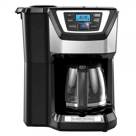 BLACK+DECKER CM5000B Mill & Brew 12-Cup Programmable Coffeemaker with Built-In Grinder, Black/Stainless Steel