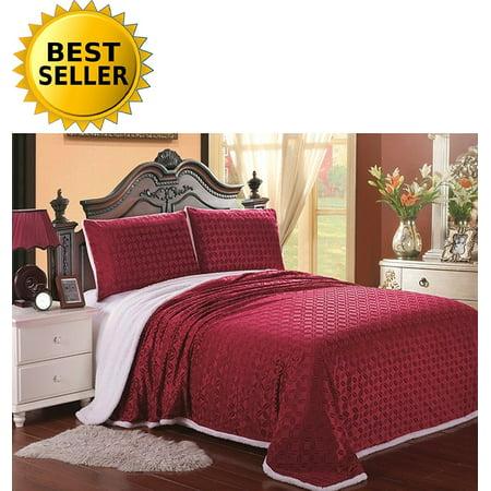 Elegant Comfort Luxury Sherpa Blanket On Amazon  Best Seller Micro Sherpa Ultra Plush Blanket   King  Burgundy