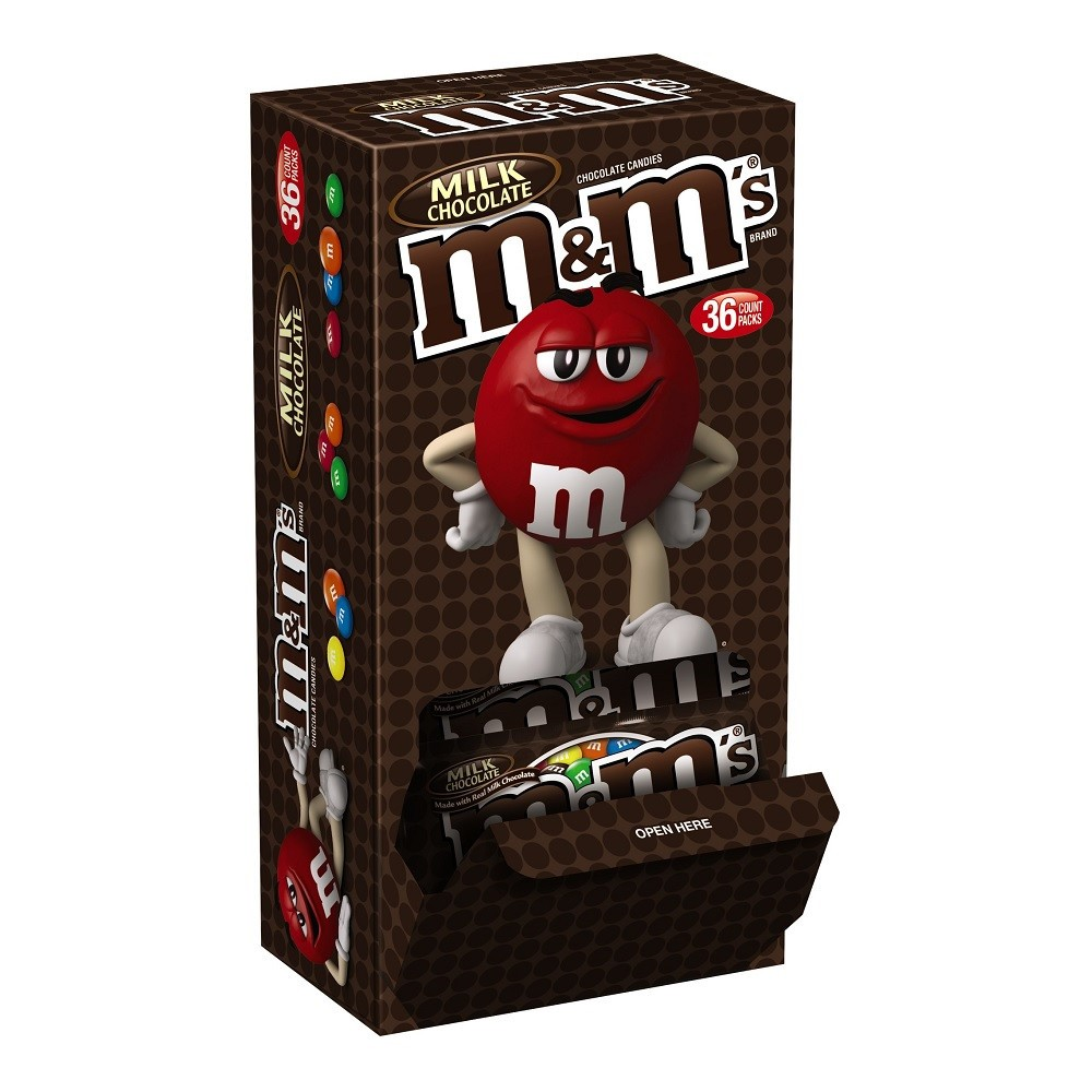 M&M's Milk Chocolate Candy, 1.69 Oz., 36 Count