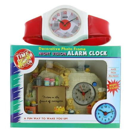 Hand Painted Resin Clock Teddy Bear