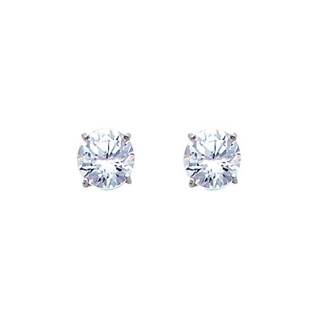 1 Carat Solitaire Stud Round Simulated Diamonds Solid 14k White Gold Unisex Screw Back Earrings