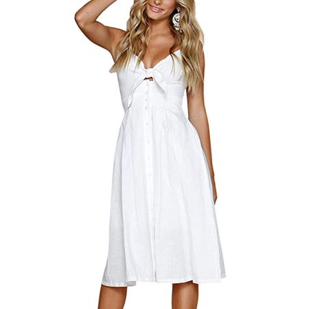 Womens Dresses Summer Tie Front V-Neck Spaghetti Strap Button Down A-Line Backless Swing Midi Dress ()