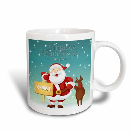 3dRose Merry Christmas Santa and Rudolph Greeting, Ceramic Mug, 15-ounce