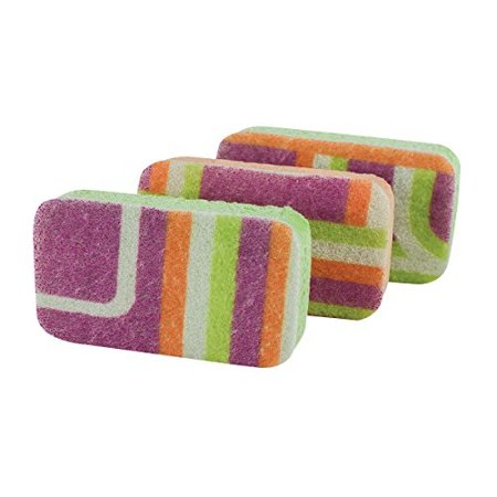 Casabella Cellulose Scrub Sponges, Plum, Lime and Orange Print , 3-Pack (Linen Scrubs)