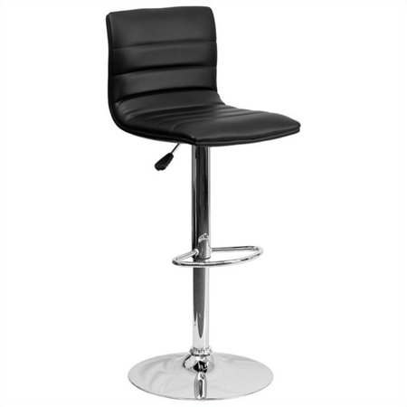 """Kingfisher Lane 25"""" to 33"""" Striped Bar Stool in Black with Chrome Base"""