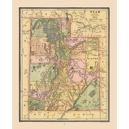 Utah United States Map.Old State Maps Utah United States Cram S Atlas 1888 23 X 28 27
