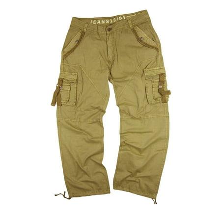 Men's Military-Style Cargo Pants 36x34 Khaki Color