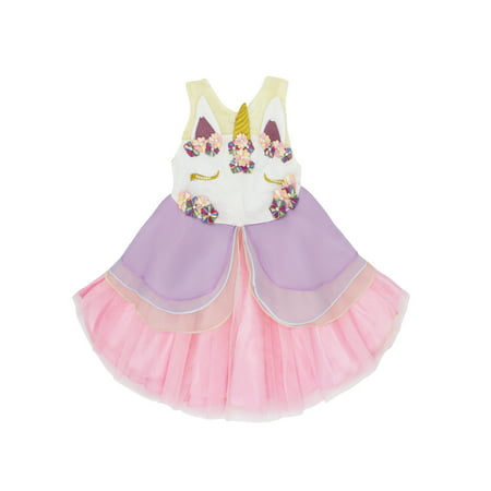 Baby Girls Unicorn Princess Tutu Dress (Pink, 100/6-12 - Princess Peach Dress
