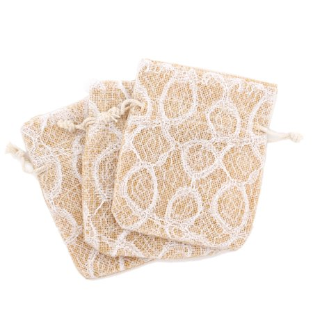 20 Lace Burlap Cute Gift Party Favor Fabric Birthday Treat Goody Bag - Beige/White](Burlap Favor Bags)