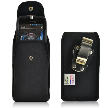 Vertical Heavy Duty Ballistic Nylon Canvas Case with Metal Rotating Clip and Snap Closure fits CAT S60 and CAT s50