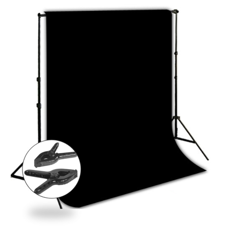 Loadstone Studio 10' x 8.5' Background Stand Backdrop Support System Kit + 6' x 9' Black Muslin Backdrop Background + 6' x 9' Black Muslin Protector Photo Portrait Studio,