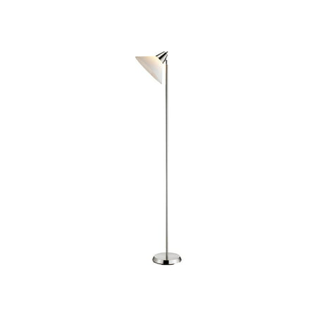 Adesso Swivel Floor Lamp, Satin Steel Finish, Smart Outlet Compatible,