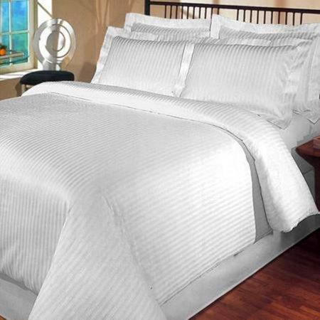 400 Thread Count Egyptian Cotton Full/ Queen Duvet Cover Set Stripe White