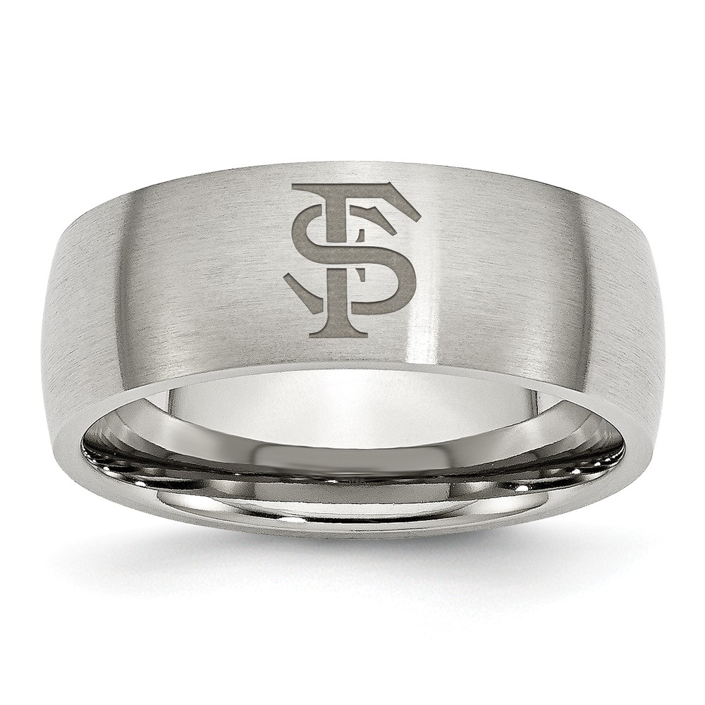 Stainless Steel Florida State University Laser Etch Ring (8mm) - Size 10