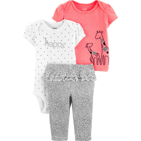 Short Sleeve T-Shirt, Bodysuit, and Pants Outfit Set, 3 pc set (Baby Girls) - Kids Cat Outfit