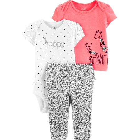 Short Sleeve T-Shirt, Bodysuit, and Pants Outfit, 3 pc set (Baby Girls)