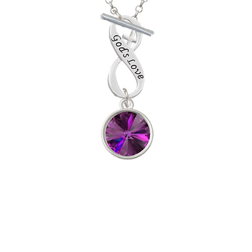 12mm Crystal Rivoli - Purple God's Love Infinity Toggle Chain Necklace