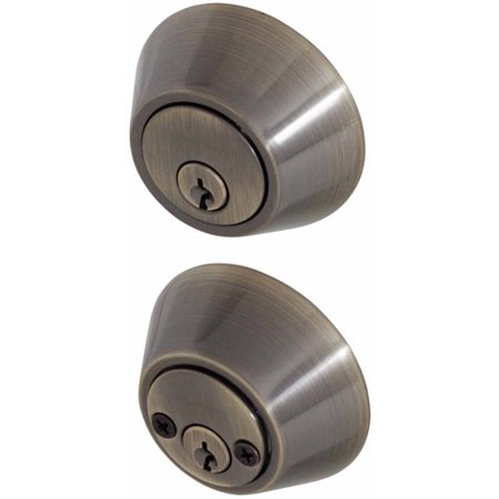 - Honeywell Double Cylinder Deadbolt Door Lock, Antique Brass