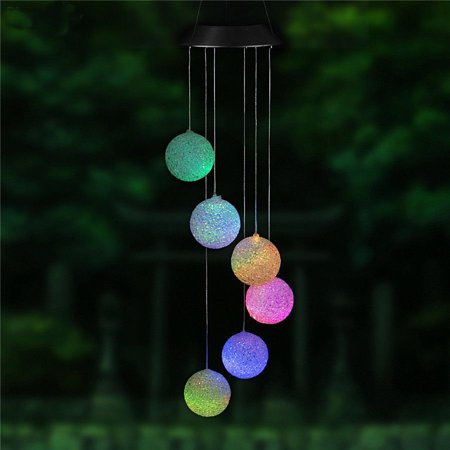 iMeshbean Round ball LED Color-Changing Power Solar Wind Chimes Yard Home Garden Decor US ()