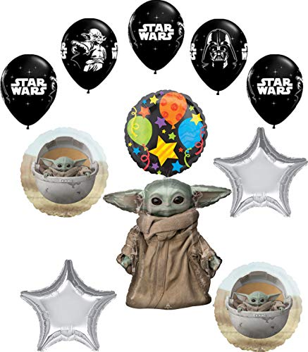 Baby Yoda Mandalorian The Child Themed Birthday Party Supplies Set Napkins Candles Large /& Small Plates Cups Table Cover Serves 16 Banner Decoration Button
