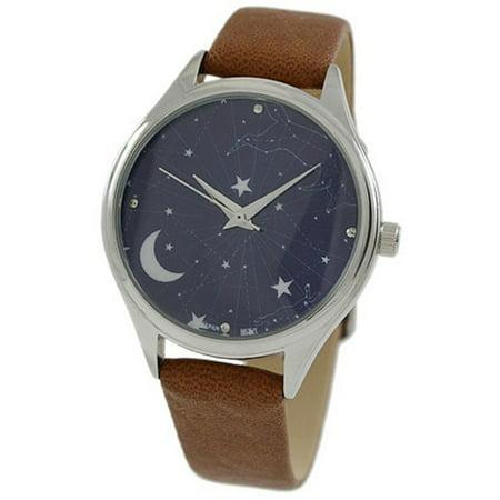 Geneva Unisex Galaxy Casual Watch w/ Cognac Leather Strap 10047