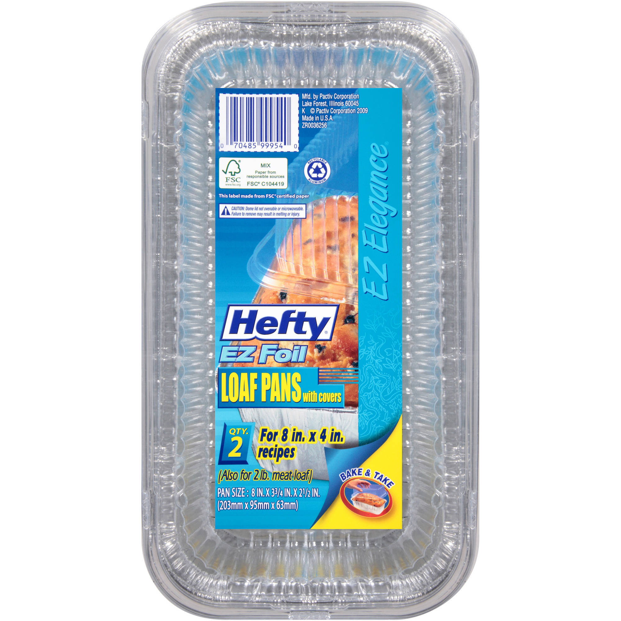 Hefty EZ Foil Medium Loaf with Lids, 2-Pack