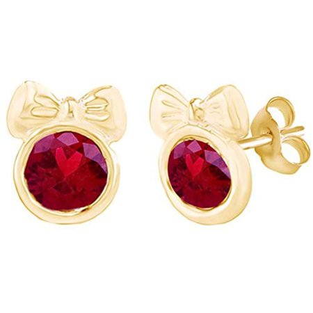 Gold Round Ruby Heart (Round Shape Simulated Pink Ruby Minnie Mouse Bow Stud Earrings 14K Yellow Gold Over Sterling Silver )