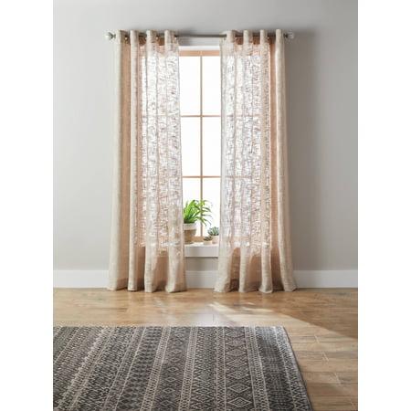 Better Homes & Gardens Slub Sheer Single Window Curtain - Silver Glitter Curtains