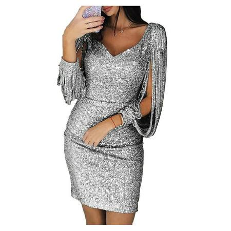 Women's Fahsion V-neck Sequin Dress Tassel Long-sleeved Slim Fit Dress Evening Bodycon Dress Clubwear