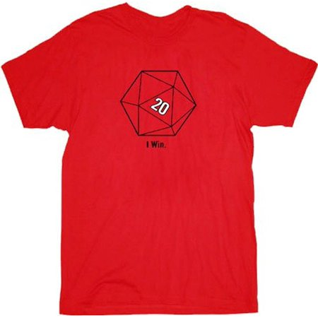 The Big Bang Theory Sheldon Cooper 20 Sided Dice D20 Adult Red T-shirt ()