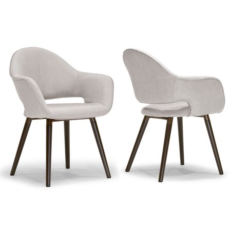 Set of 2 Adel Modern Beige Arm Chair Dining Chair with Beech Legs