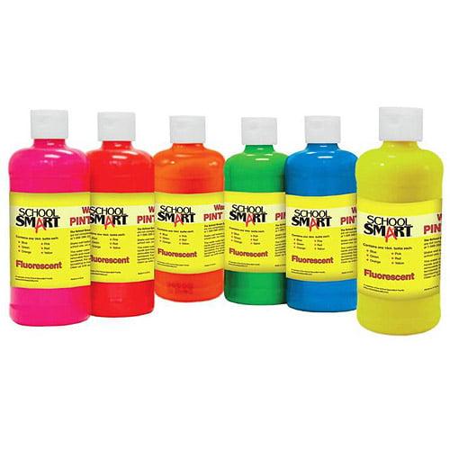 School Smart Tempera Paint, 1-Pint, Fluorescent Colors, Set of 6
