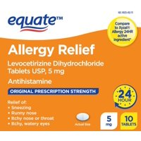 Equate Levocetirizine Dihydrochloride 5mg Allergy Relief Tablets, 10ct
