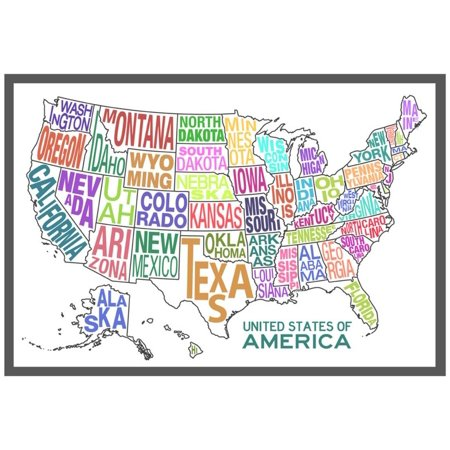 United States of America Stylized Text Map Colorful Poster -