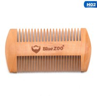 AkoaDa 2 Sides Dual Use Green Sandalwood Wooden Pocket Hair Comb Men Beard Comb Anti-Static Wide And Fine Tooth