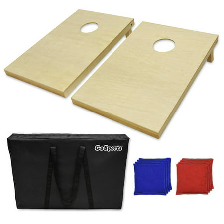 GoSports Foldable Wooden Cornhole Boards Set, Made from 100 Percent Solid Wood, 3' x 2' Tailgate Size w/ 8 Bean Bags and Portable Carry Case ()