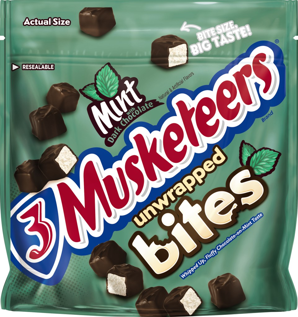 3 Musketeers Unwrapped Bites Mint with Dark Chocolate Candy, 6.0 oz