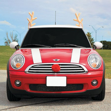 Christmas Car Reindeer Costume Antler Truck SUV Decorating Kit Red Nose](Reindeer Car Antlers)